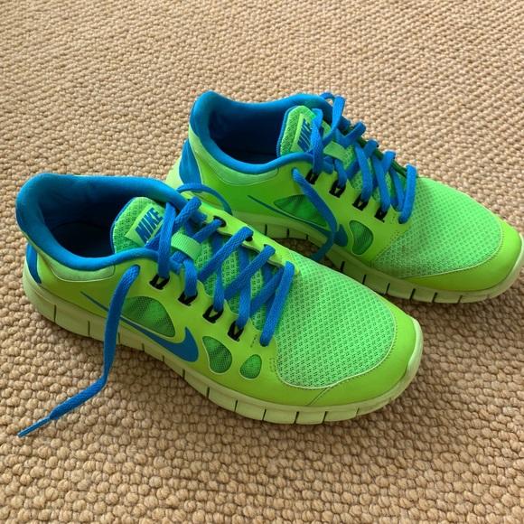 Nike Shoes   Neon Green Blue Nike Free